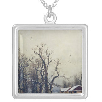 Winter scene, 19th century silver plated necklace
