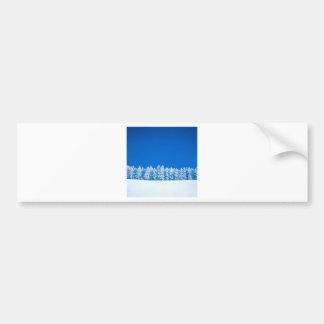 Winter Scene Blue White Clearing Bumper Stickers