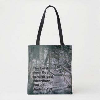Winter scene customizable tote bag