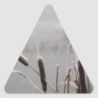 Winter Scene Frosted Cattails Triangle Stickers