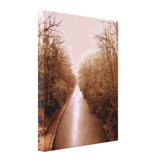 winter scene, frozen canal stretched canvas print