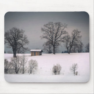 Winter scene, hill and trees, hut mouse mat