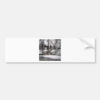 Winter Scene Icey Meadow River Bumper Sticker
