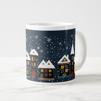 Winter scene jumbo soup mug 20 oz large ceramic coffee mug