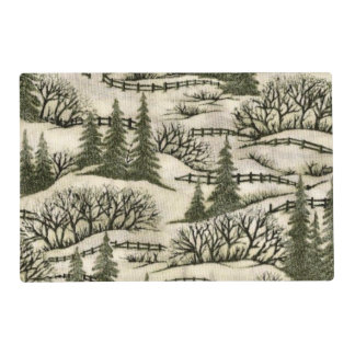 Winter scene laminated place mat