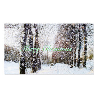 Winter Scene Merry Christmas Green Gift Tags Cards Pack Of Standard Business Cards
