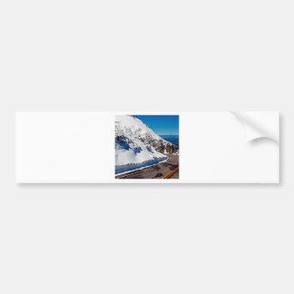 Winter Scene Mountain Road Cold Daytime Bumper Stickers
