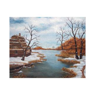 Winter scene oil painting on canvas print