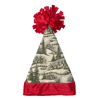Winter scene pattern Holiday hat Santa Hat