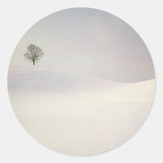 Winter Scene Peaceful Season Switzerland Round Sticker