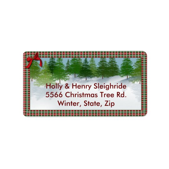 """Winter Scene""/Plaid Border Address Label"