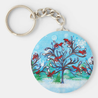 Winter Scene - Red Birds Perched in Trees Basic Round Button Key Ring