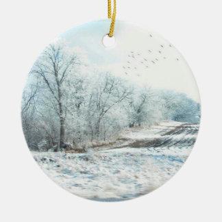 Winter Scene Round Ceramic Decoration