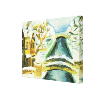 Winter scene, snow and ice on the canals gallery wrapped canvas
