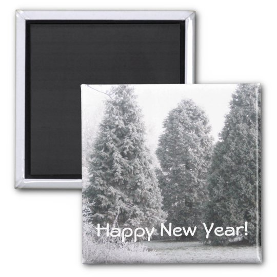 Winter scene square magnet