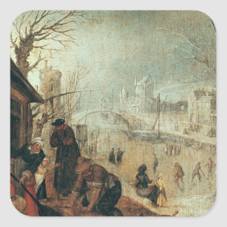 Winter Scene Square Sticker