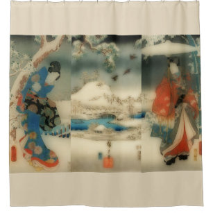 Winter Scene Vintage Japanese Art Triptych Shower Curtain