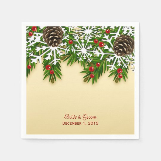 Winter Scene Wedding Paper Napkins