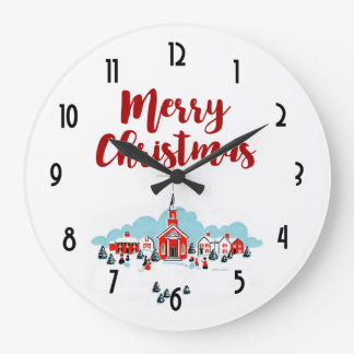 Winter Scene with a Red Church and Christmas Star Large Clock