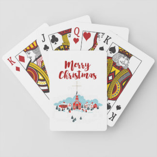 Winter Scene with a Red Church and Christmas Star Playing Cards