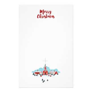 Winter Scene with a Red Church and Christmas Star Stationery