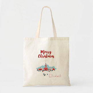 Winter Scene with a Red Church and Christmas Star Tote Bag