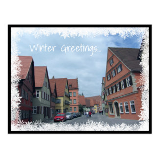 Winter Scene With Houses Postcard