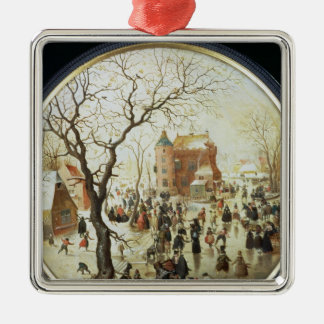 Winter Scene with Skaters near a Castle Christmas Ornament