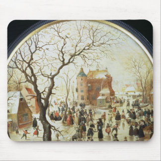 Winter Scene with Skaters near a Castle Mouse Mat