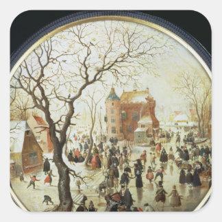 Winter Scene with Skaters near a Castle Square Sticker