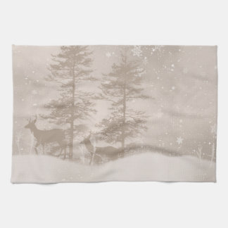 Winter Scenery Deer In The Snowy Forest Towel