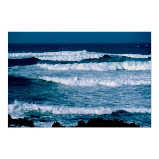 Winter sea in St Ouen's Bay, Jersey Poster