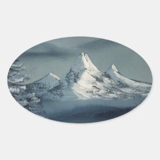 Winter Season Oval Sticker
