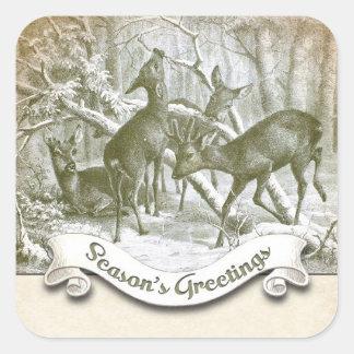 winter season's greetings vintage sticker