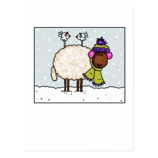 winter sheep postcard