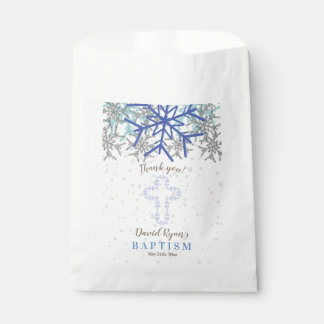 Winter Silver Navy Blue Snowflake Baptism Invite Favour Bags