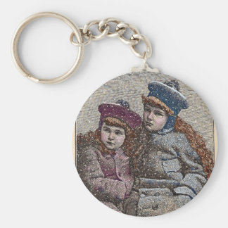 Winter Sisters Basic Round Button Key Ring