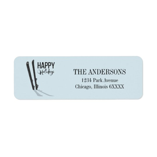 Winter Skiing Happy Holidays Address Label