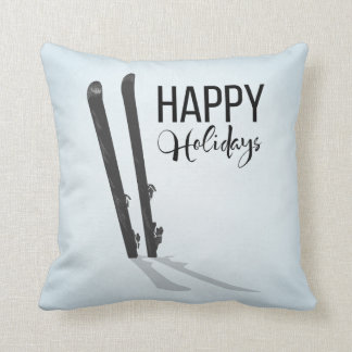 Winter Skiing Happy Holidays Throw Pillow