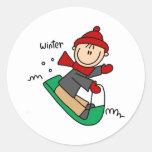Winter Sledding Round Sticker