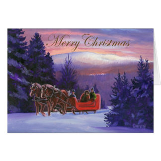 Winter Sleigh Ride Greeting Cards