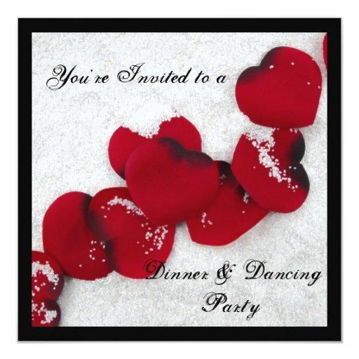 Winter Snow And Rose Petals Invitation