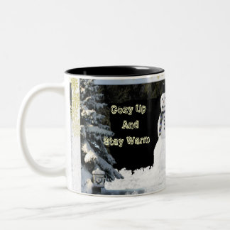 Winter Snow And Snowmen Cup Two-Tone Mug