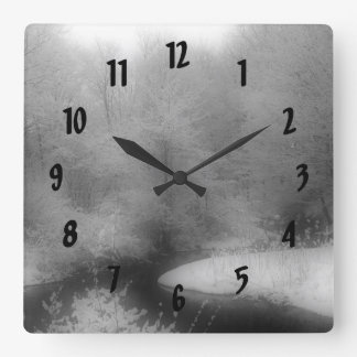 Winter Snow And Stream Nature Square Wall Clock