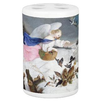 Winter Snow Angel Feeding Birds Bath Set