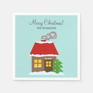 Winter snow cabin teal Christmas custom Holiday Disposable Serviette