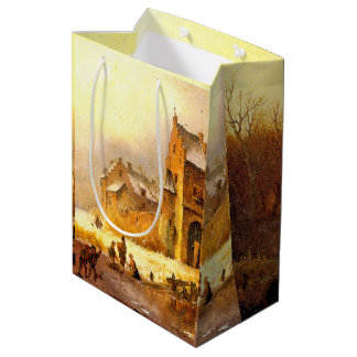 Winter Snow Castle Pond Kids Playing Gift Bag