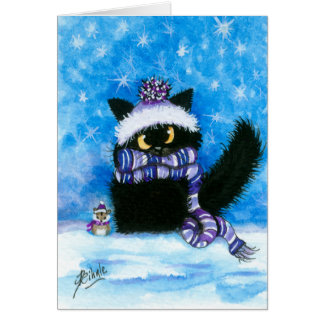 Winter Snow Cat Hamster Card by Bihrle