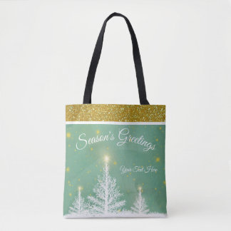 Winter Snow Christmas Gold Season's Greetings Tote
