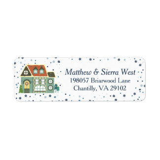 Winter Snow Christmas Holiday Home Return Address Label